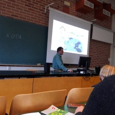Prof. Roulet delivering his presentations at the Hyytiälä peatland conference.