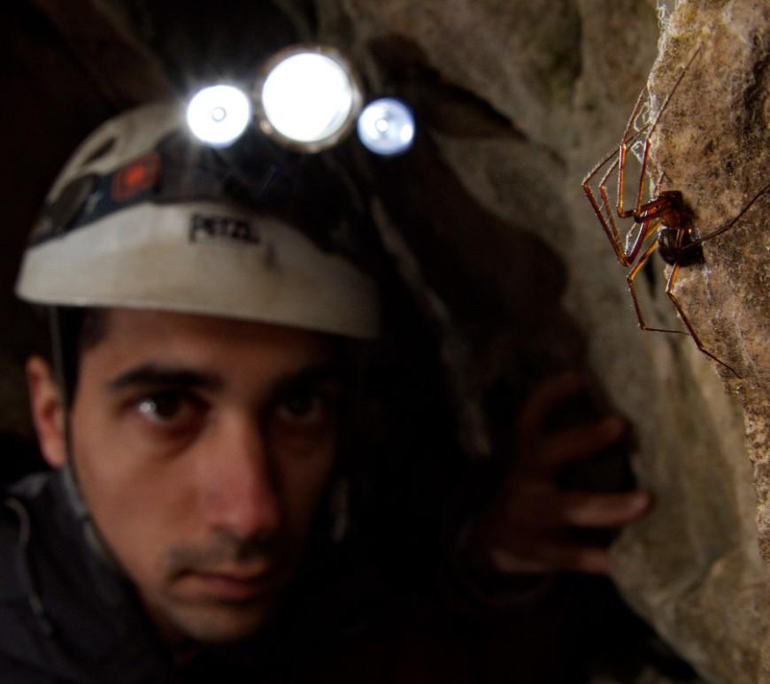 Stefano Mammola doing fieldwork in a cave. Photo by courtesy of Francesco Tomasinelli (http://www.isopoda.net/).