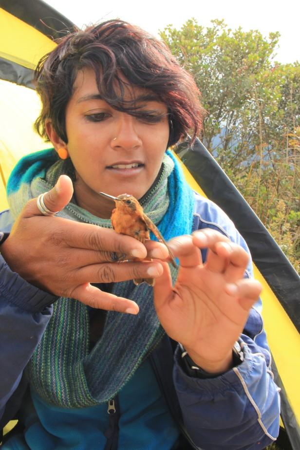 Anusha Shankar + hummingbird. Credit: Julisa Ricart