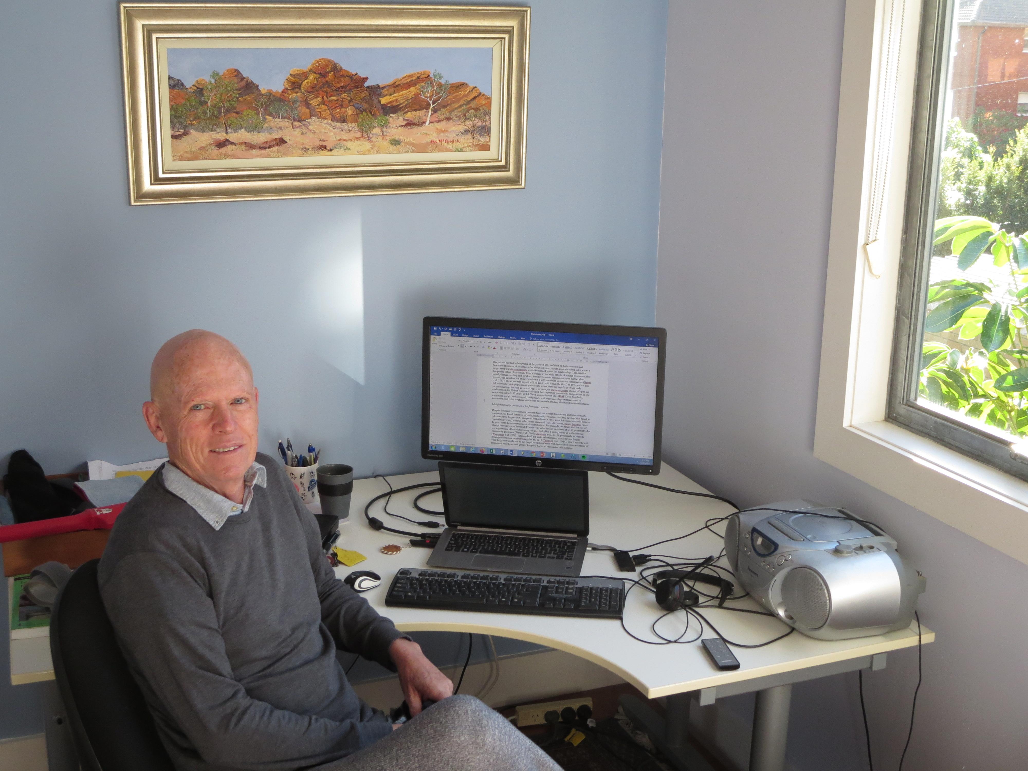 David Eldridge in his home office
