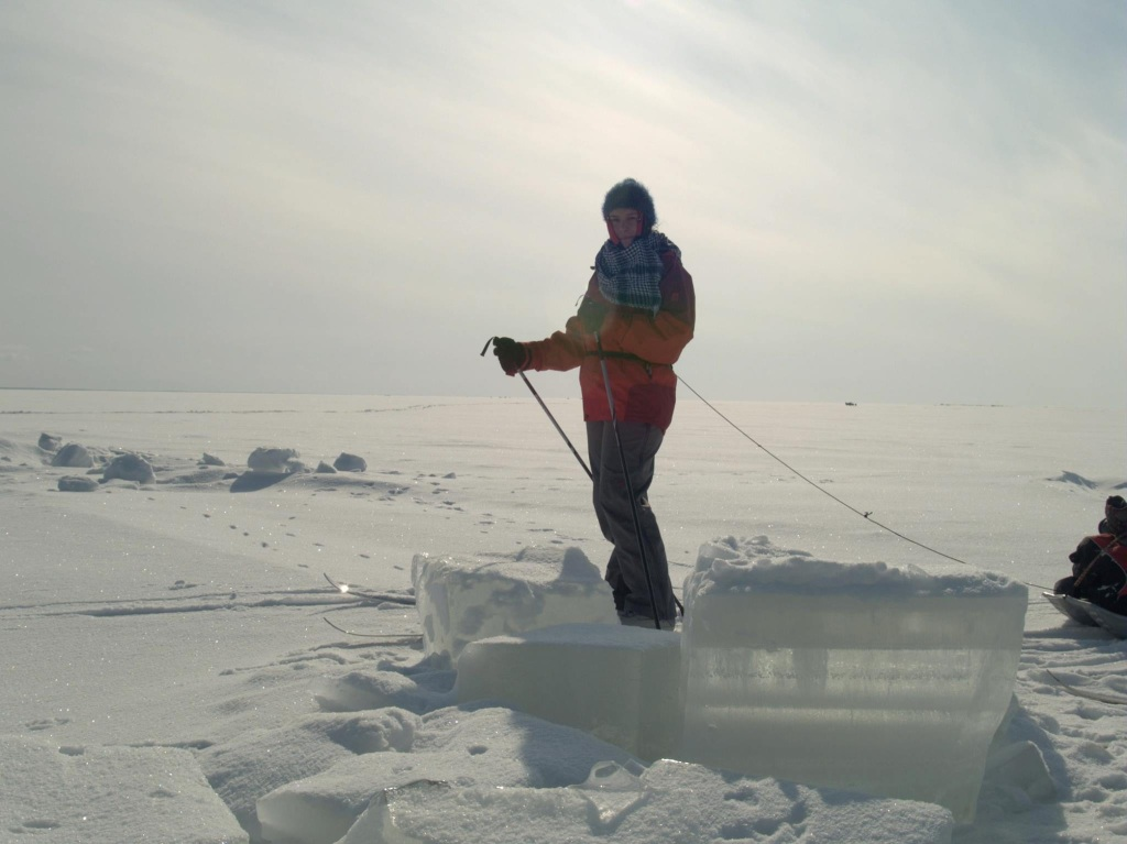 Skiing over the frozen sea in Finland.