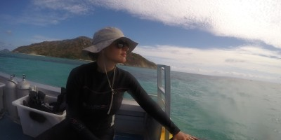 Dr. Lauren Nadler at the Lizard Island Research Station in Australia (photo credit Shaun Killen).