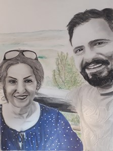 Alihan (right) and his mother, Shams Paryav (left) with a view of blue mountains, NSW in the background, portrayed by a close friend of Alihan, Shima Arian Nezhad in 6th Jun 2020.