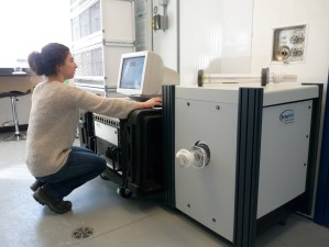 Measuring lean and fat mass on snow bunting with a quantitative magnetic resonance (QMR) machine.