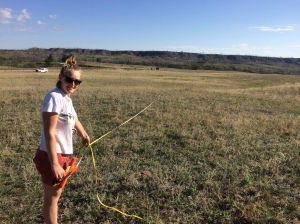 Ellen setting up a transect for the plots
