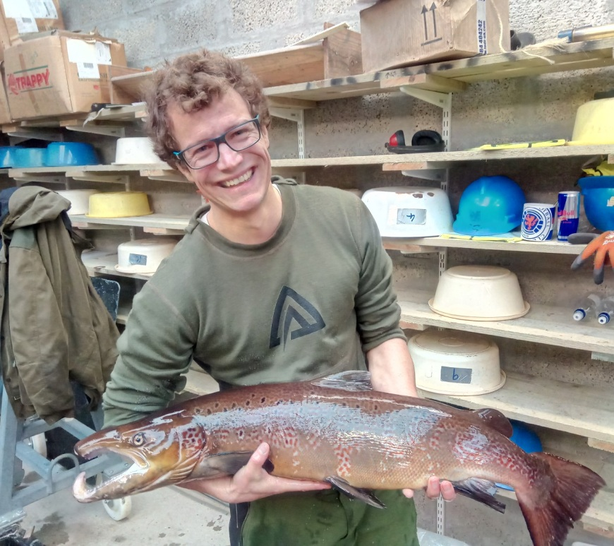 Libor Zàvorka with a male adult Atlantic salmon during milt and eggs collection.