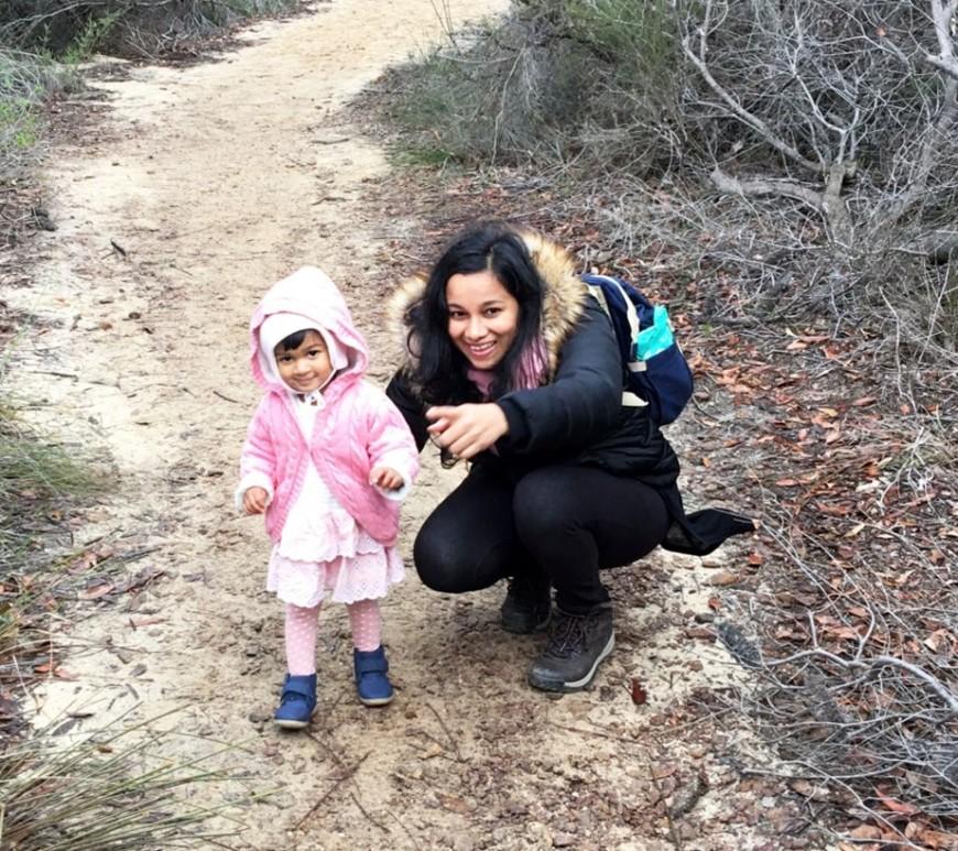 Anushika with her daughter in Ku-ring-gai Chase National Park, NSW, Australia