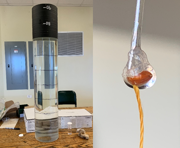(Left) A contraption for measuring the terminal velocity of seeds. (Right) An early prototype for measuring wet attachment force of mucilage.
